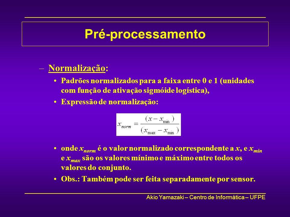 _____________________________________________________________________________ Akio Yamazaki – Centro de Informática – UFPE _____________________________________________________________________________ Pré-processamento –Normalização: Padrões normalizados para a faixa entre 0 e 1 (unidades com função de ativação sigmóide logística), Expressão de normalização: onde x norm é o valor normalizado correspondente a x, e x min e x max são os valores mínimo e máximo entre todos os valores do conjunto.