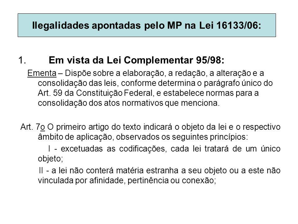 1. Em vista da Lei Complementar 95/98: Ementa – Dispõe sobre a elaboração, a redação, a alteração e a consolidação das leis, conforme determina o pará