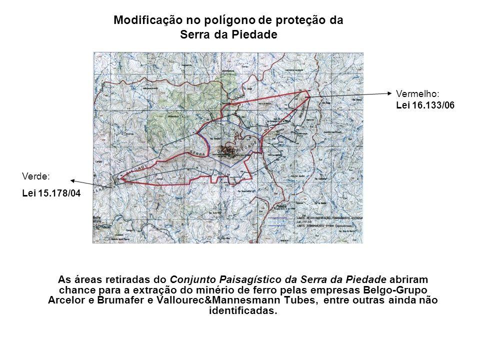 As áreas retiradas do Conjunto Paisagístico da Serra da Piedade abriram chance para a extração do minério de ferro pelas empresas Belgo-Grupo Arcelor