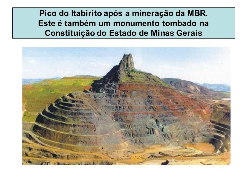 Pico do Itabirito após a mineração da MBR. Este é também um monumento tombado na Constituição do Estado de Minas Gerais