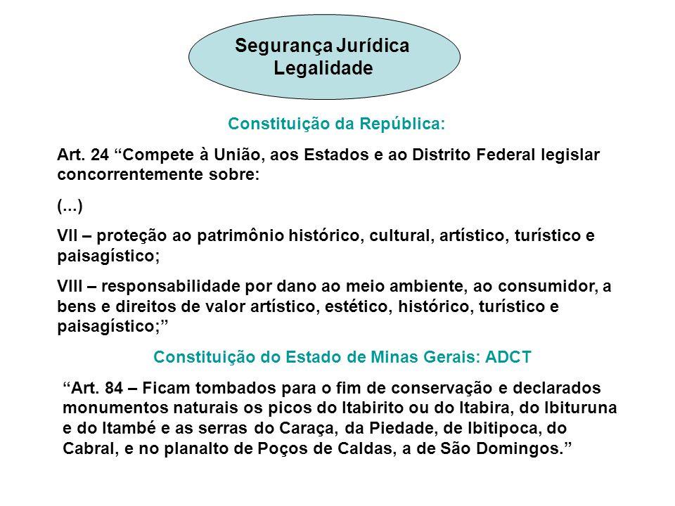 Constituição da República: Art. 24 Compete à União, aos Estados e ao Distrito Federal legislar concorrentemente sobre: (...) VII – proteção ao patrimô
