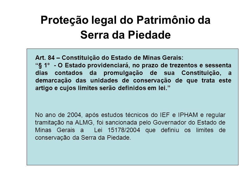 Proteção legal do Patrimônio da Serra da Piedade Art. 84 – Constituição do Estado de Minas Gerais: § 1° - O Estado providenciará, no prazo de trezento