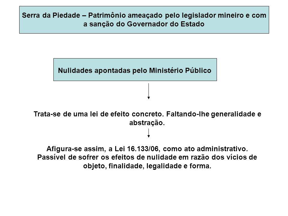 SERRA DA PIEDADE Ilegalidades e inconstitucionalidade da Lei 16133/06 apontadas pelo MPMG: Em vista da Lei Complementar 95/98 Face ao que dispõe o Art.