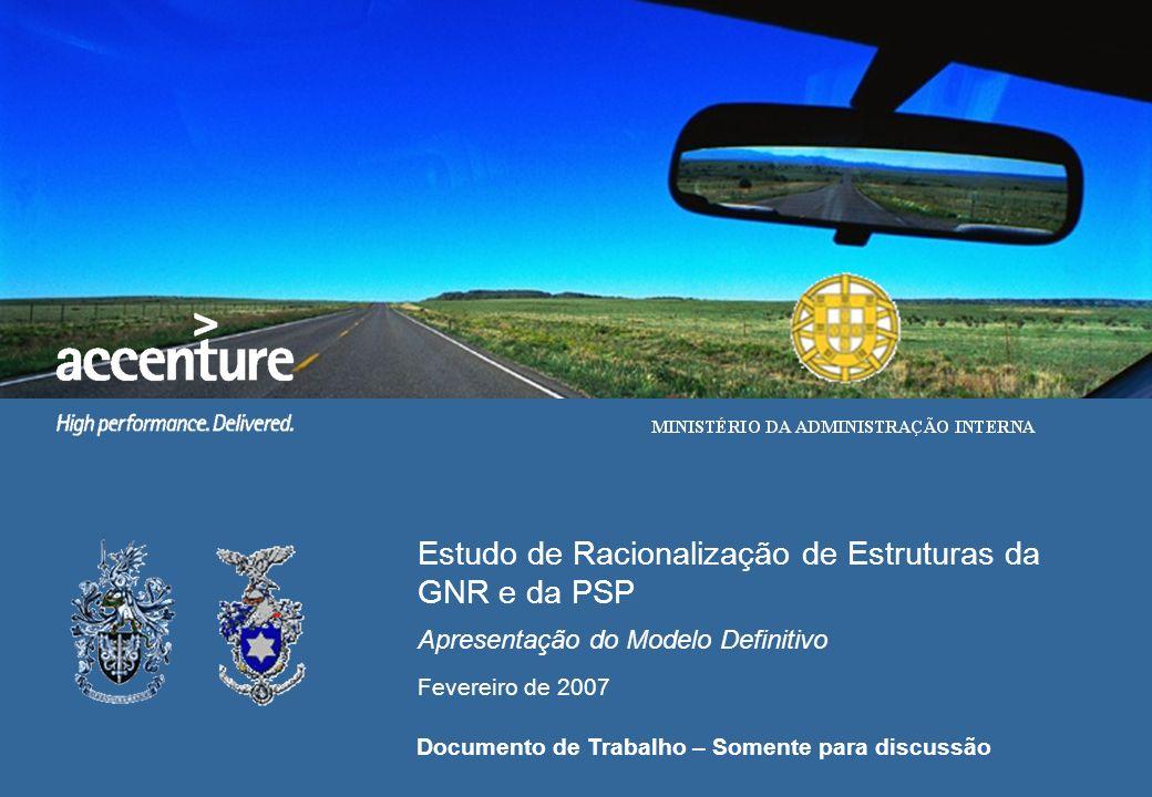 Estudo de Racionalização de Estruturas da GNR e da PSP Apresentação do Modelo Definitivo Fevereiro de 2007 Documento de Trabalho – Somente para discus