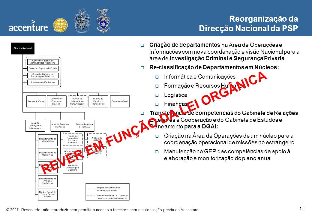 12 © 2007. Reservado, não reproduzir nem permitir o acesso a terceiros sem a autorização prévia da Accenture. Reorganização da Direcção Nacional da PS
