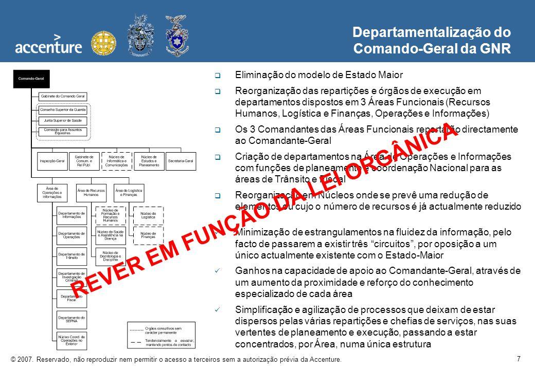 7 © 2007. Reservado, não reproduzir nem permitir o acesso a terceiros sem a autorização prévia da Accenture. Departamentalização do Comando-Geral da G