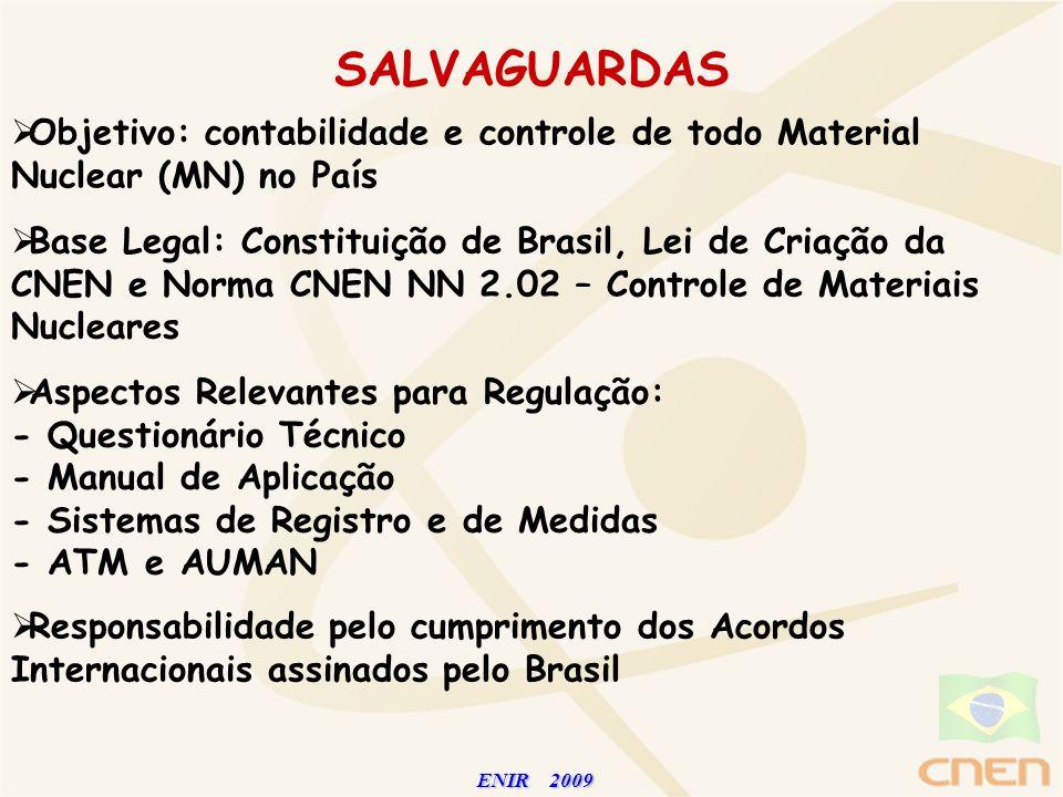 ENIR 2009 ENIR 2009 SALVAGUARDAS Objetivo: contabilidade e controle de todo Material Nuclear (MN) no País Base Legal: Constituição de Brasil, Lei de C