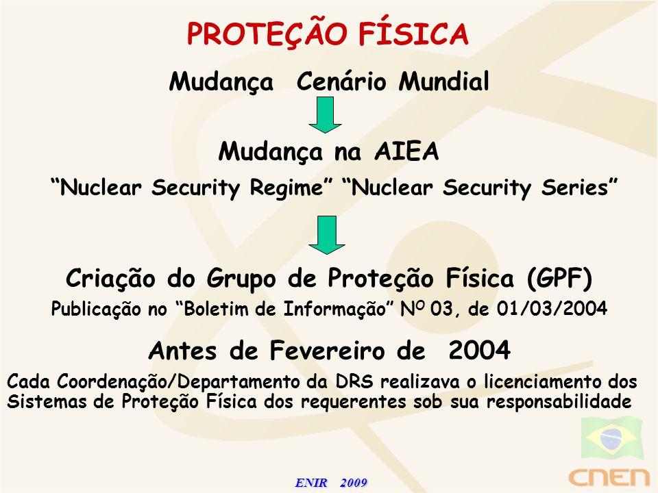 ENIR 2009 ENIR 2009 PROTEÇÃO FÍSICA Antes de Fevereiro de 2004 Cada Coordenação/Departamento da DRS realizava o licenciamento dos Sistemas de Proteção