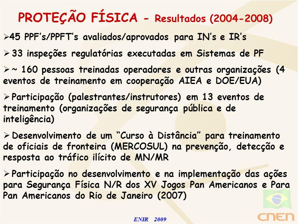 ENIR 2009 ENIR 2009 PROTEÇÃO FÍSICA - Resultados (2004-2008) 45 PPFs/PPFTs avaliados/aprovados para INs e IRs 33 inspeções regulatórias executadas em