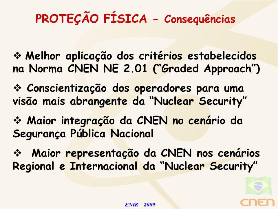 ENIR 2009 ENIR 2009 PROTEÇÃO FÍSICA - Consequências Melhor aplicação dos critérios estabelecidos na Norma CNEN NE 2.01 (Graded Approach) Conscientizaç