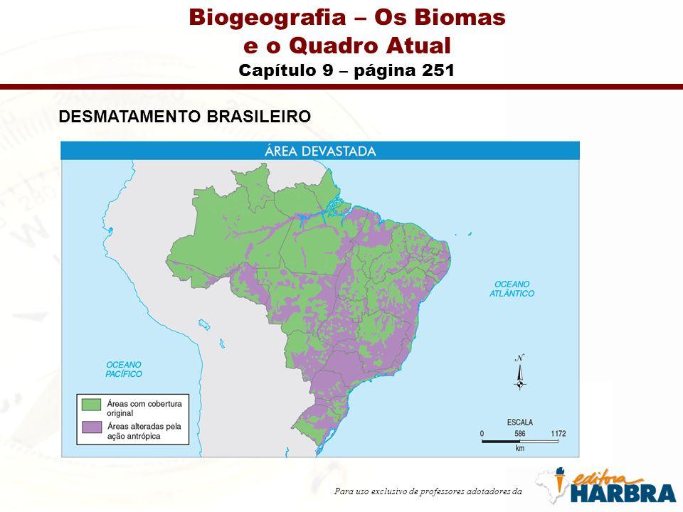 Para uso exclusivo de professores adotadores da Biogeografia – Os Biomas e o Quadro Atual Capítulo 9 – página 251 DESMATAMENTO BRASILEIRO