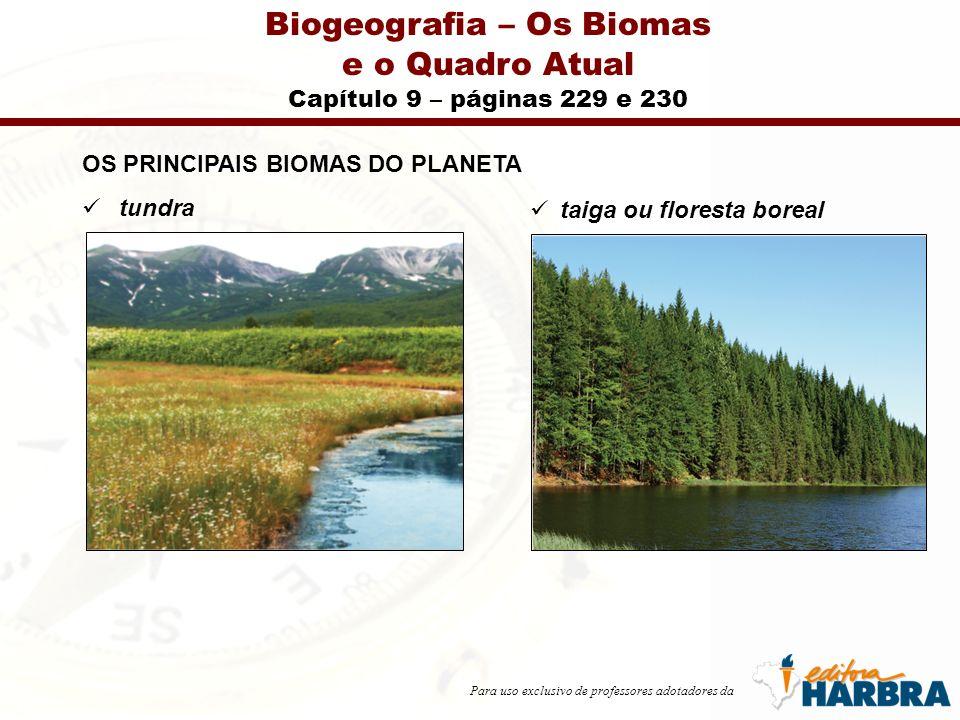 Para uso exclusivo de professores adotadores da Biogeografia – Os Biomas e o Quadro Atual Capítulo 9 – páginas 229 e 230 OS PRINCIPAIS BIOMAS DO PLANETA tundra taiga ou floresta boreal
