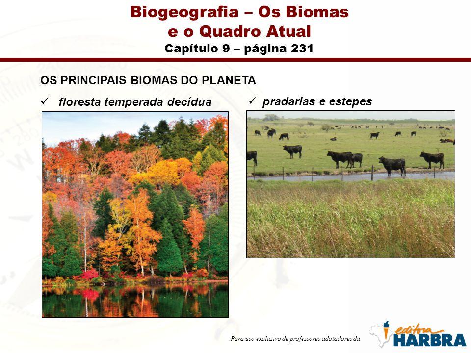 Para uso exclusivo de professores adotadores da Biogeografia – Os Biomas e o Quadro Atual Capítulo 9 – página 250 BIOMAS DO BRASIL