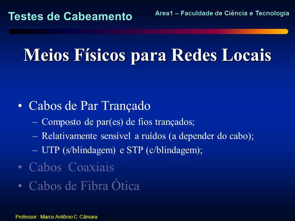 Testes de Cabeamento Area1 – Faculdade de Ciência e Tecnologia Professor : Marco Antônio C. Câmara Meios Físicos para Redes Locais Cabos de Par Trança
