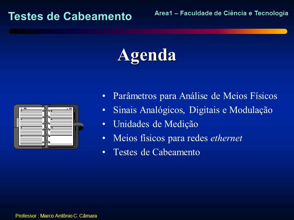 Testes de Cabeamento Area1 – Faculdade de Ciência e Tecnologia Professor : Marco Antônio C. Câmara Agenda Parâmetros para Análise de Meios Físicos Sin
