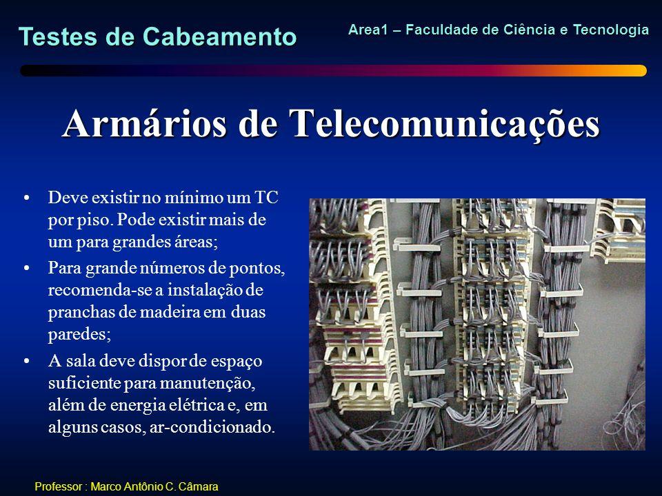 Testes de Cabeamento Area1 – Faculdade de Ciência e Tecnologia Professor : Marco Antônio C. Câmara Armários de Telecomunicações Deve existir no mínimo