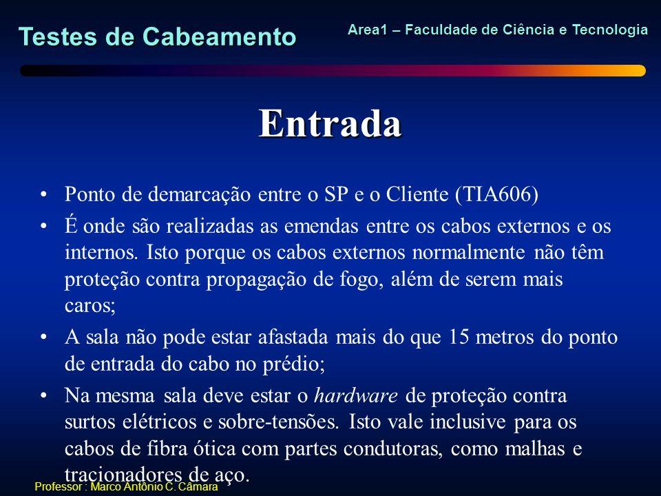 Testes de Cabeamento Area1 – Faculdade de Ciência e Tecnologia Professor : Marco Antônio C. Câmara Entrada Ponto de demarcação entre o SP e o Cliente