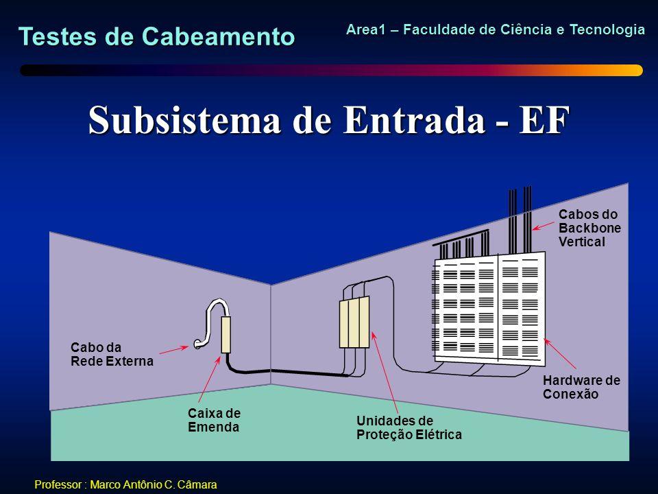 Testes de Cabeamento Area1 – Faculdade de Ciência e Tecnologia Professor : Marco Antônio C. Câmara Subsistema de Entrada - EF Cabo da Rede Externa Cai