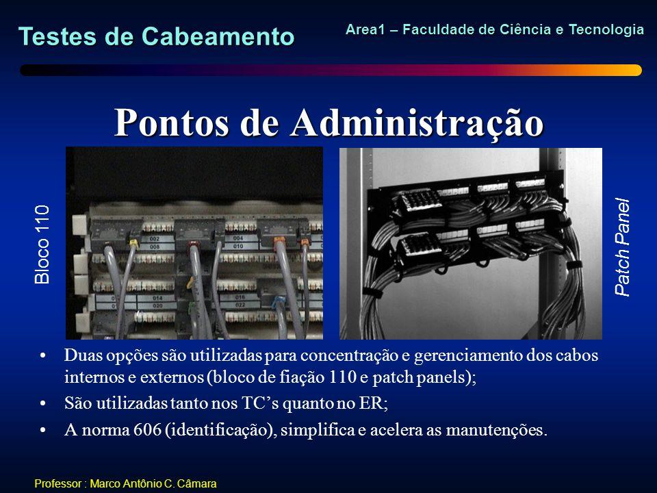 Testes de Cabeamento Area1 – Faculdade de Ciência e Tecnologia Professor : Marco Antônio C. Câmara Pontos de Administração Duas opções são utilizadas