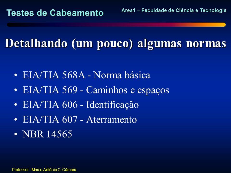 Testes de Cabeamento Area1 – Faculdade de Ciência e Tecnologia Professor : Marco Antônio C. Câmara Detalhando (um pouco) algumas normas EIA/TIA 568A -