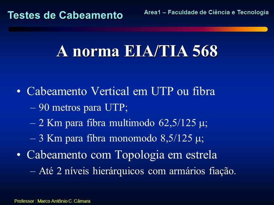 Testes de Cabeamento Area1 – Faculdade de Ciência e Tecnologia Professor : Marco Antônio C. Câmara A norma EIA/TIA 568 Cabeamento Vertical em UTP ou f