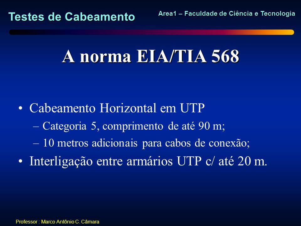 Testes de Cabeamento Area1 – Faculdade de Ciência e Tecnologia Professor : Marco Antônio C. Câmara A norma EIA/TIA 568 Cabeamento Horizontal em UTP –C