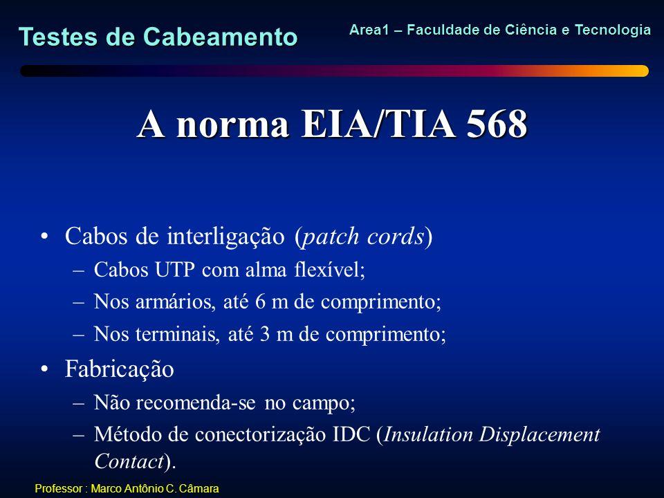 Testes de Cabeamento Area1 – Faculdade de Ciência e Tecnologia Professor : Marco Antônio C. Câmara A norma EIA/TIA 568 Cabos de interligação (patch co