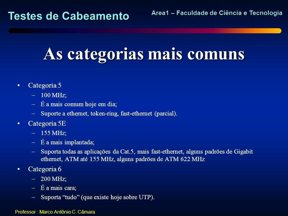 Testes de Cabeamento Area1 – Faculdade de Ciência e Tecnologia Professor : Marco Antônio C. Câmara As categorias mais comuns Categoria 5 –100 MHz; –É
