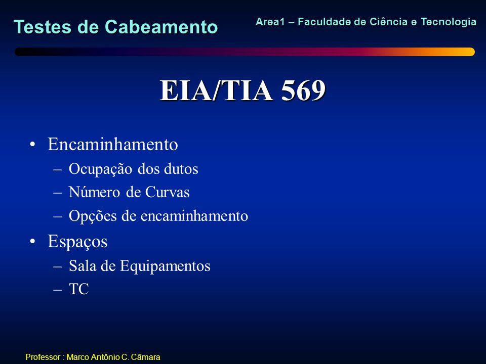 Testes de Cabeamento Area1 – Faculdade de Ciência e Tecnologia Professor : Marco Antônio C. Câmara EIA/TIA 569 Encaminhamento –Ocupação dos dutos –Núm