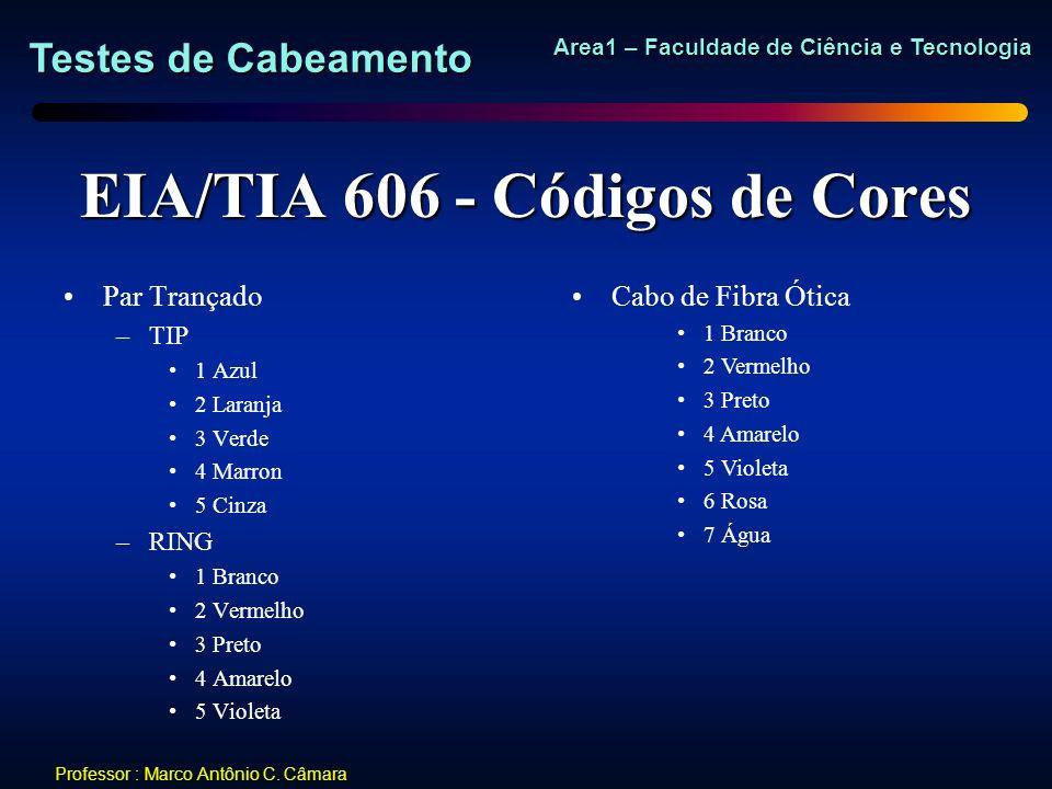 Testes de Cabeamento Area1 – Faculdade de Ciência e Tecnologia Professor : Marco Antônio C. Câmara EIA/TIA 606 - Códigos de Cores Par Trançado –TIP 1