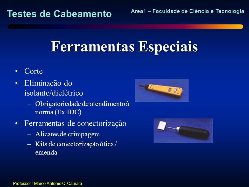 Testes de Cabeamento Area1 – Faculdade de Ciência e Tecnologia Professor : Marco Antônio C. Câmara Ferramentas Especiais Corte Eliminação do isolante/