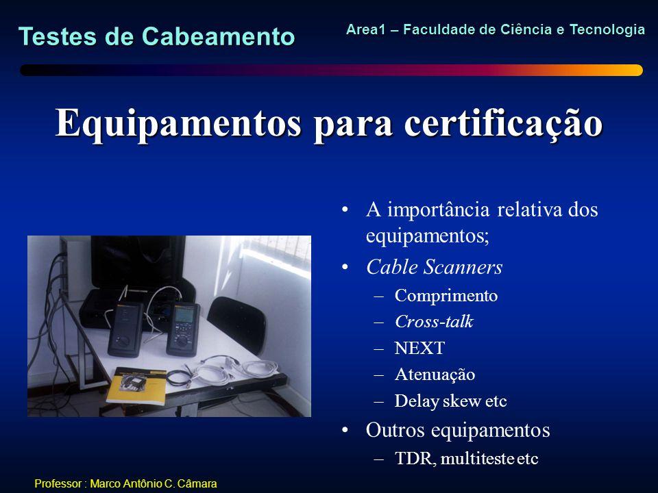 Testes de Cabeamento Area1 – Faculdade de Ciência e Tecnologia Professor : Marco Antônio C. Câmara Equipamentos para certificação A importância relati