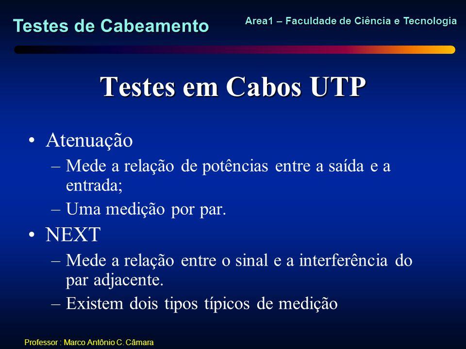 Testes de Cabeamento Area1 – Faculdade de Ciência e Tecnologia Professor : Marco Antônio C. Câmara Testes em Cabos UTP Atenuação –Mede a relação de po