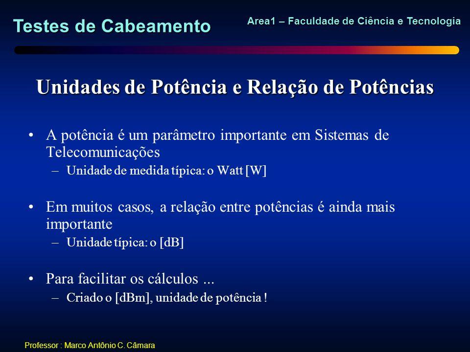 Testes de Cabeamento Area1 – Faculdade de Ciência e Tecnologia Professor : Marco Antônio C. Câmara Unidades de Potência e Relação de Potências A potên