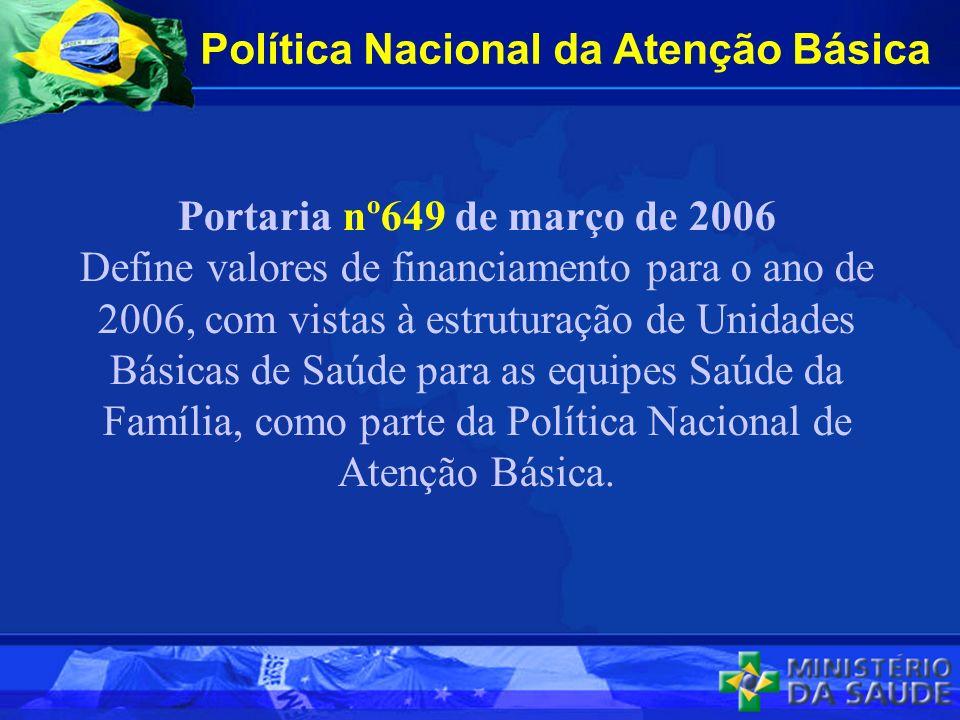 Política Nacional da Atenção Básica Portaria nº649 de março de 2006 Define valores de financiamento para o ano de 2006, com vistas à estruturação de Unidades Básicas de Saúde para as equipes Saúde da Família, como parte da Política Nacional de Atenção Básica.