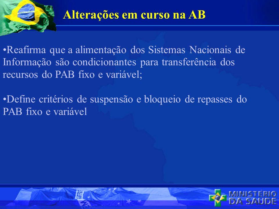 Reafirma que a alimentação dos Sistemas Nacionais de Informação são condicionantes para transferência dos recursos do PAB fixo e variável; Define critérios de suspensão e bloqueio de repasses do PAB fixo e variável Alterações em curso na AB