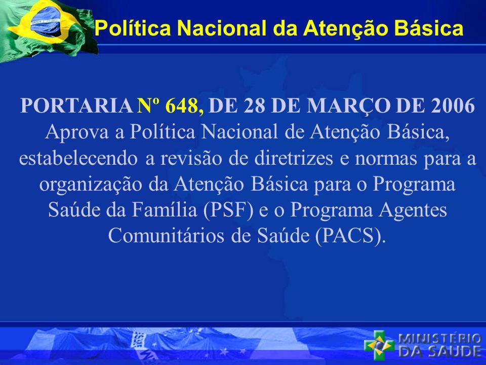 Política Nacional da Atenção Básica PORTARIA Nº 648, DE 28 DE MARÇO DE 2006 Aprova a Política Nacional de Atenção Básica, estabelecendo a revisão de d