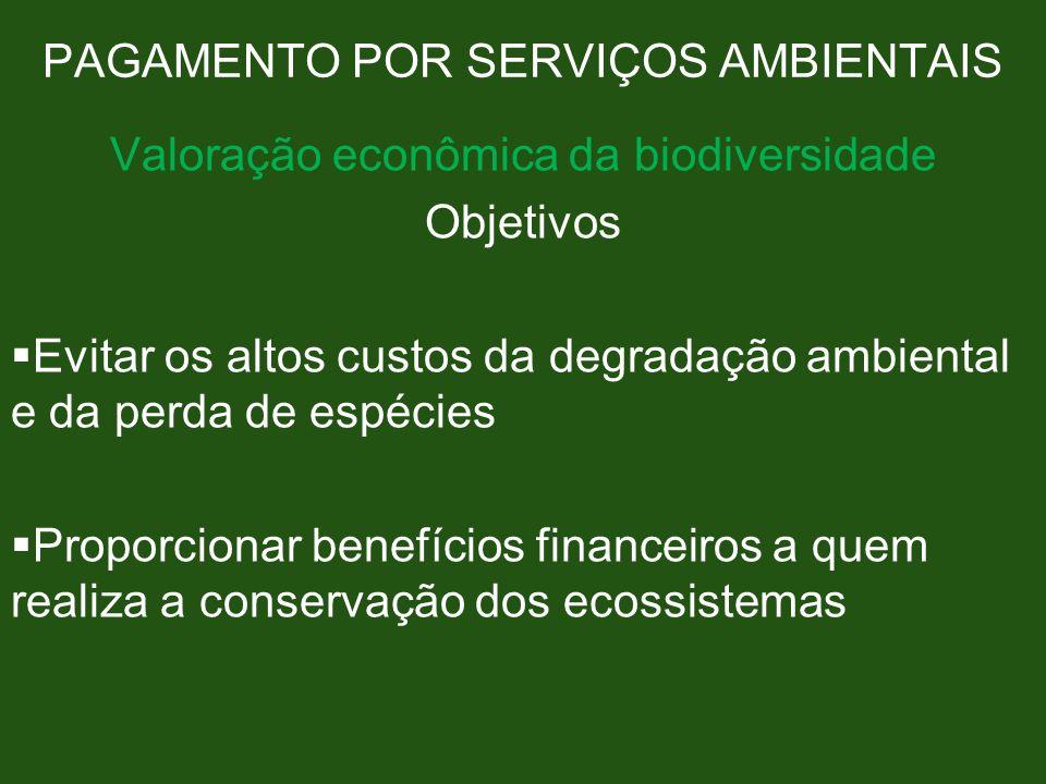 PAGAMENTO POR SERVIÇOS AMBIENTAIS Valoração econômica da biodiversidade Objetivos Evitar os altos custos da degradação ambiental e da perda de espécie