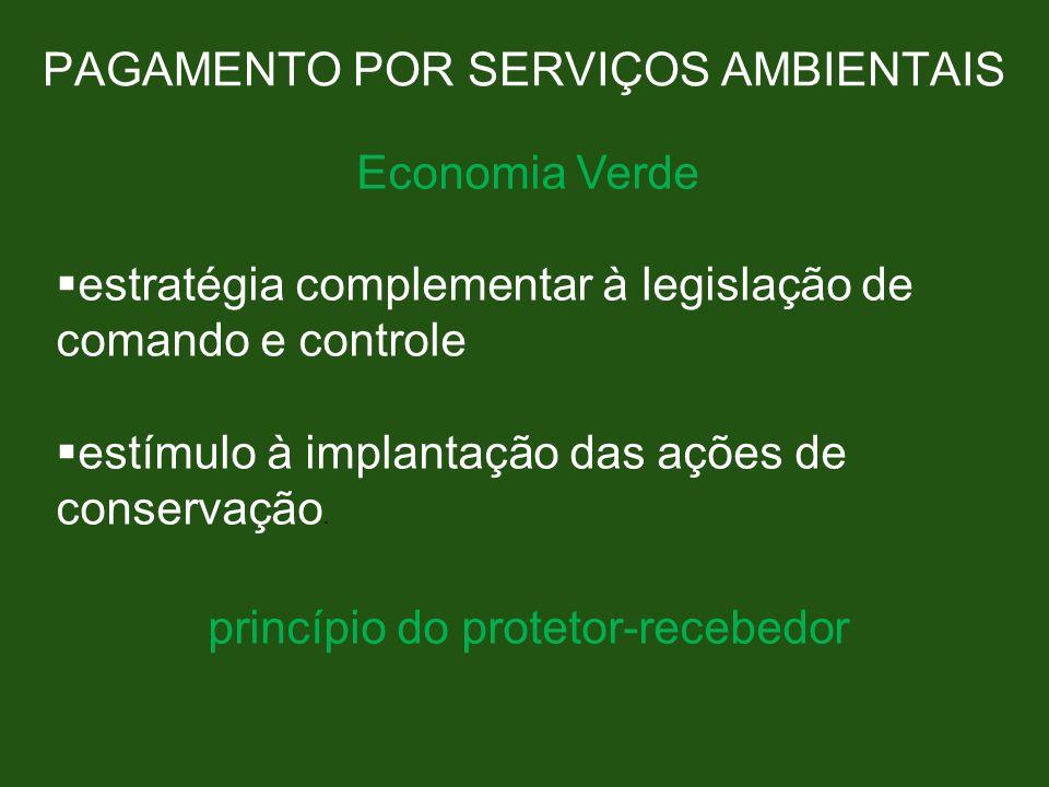 PAGAMENTO POR SERVIÇOS AMBIENTAIS Economia Verde estratégia complementar à legislação de comando e controle estímulo à implantação das ações de conser