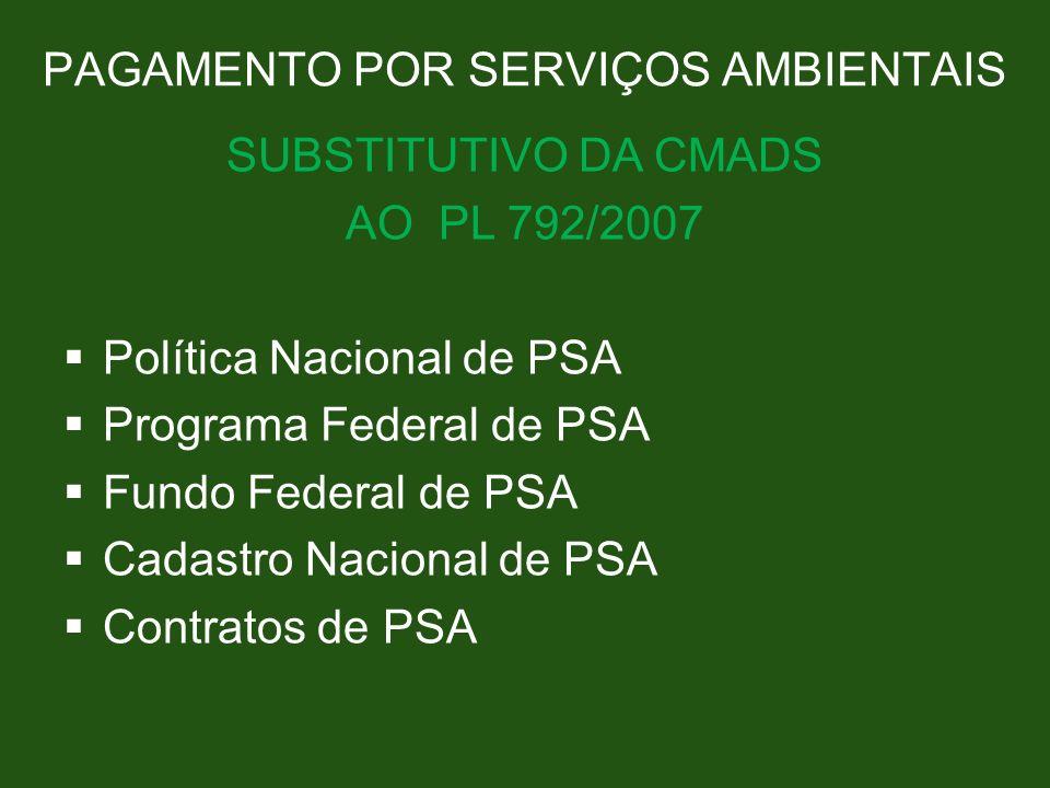 PAGAMENTO POR SERVIÇOS AMBIENTAIS SUBSTITUTIVO DA CMADS AO PL 792/2007 Política Nacional de PSA Programa Federal de PSA Fundo Federal de PSA Cadastro