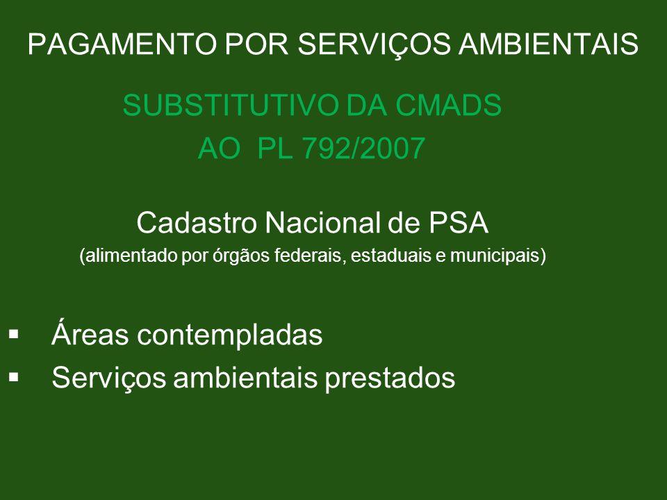 PAGAMENTO POR SERVIÇOS AMBIENTAIS SUBSTITUTIVO DA CMADS AO PL 792/2007 Cadastro Nacional de PSA (alimentado por órgãos federais, estaduais e municipai