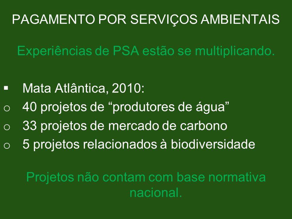 PAGAMENTO POR SERVIÇOS AMBIENTAIS Experiências de PSA estão se multiplicando. Mata Atlântica, 2010: o 40 projetos de produtores de água o 33 projetos