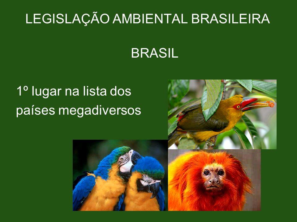 LEGISLAÇÃO AMBIENTAL BRASILEIRA BRASIL 1º lugar na lista dos países megadiversos