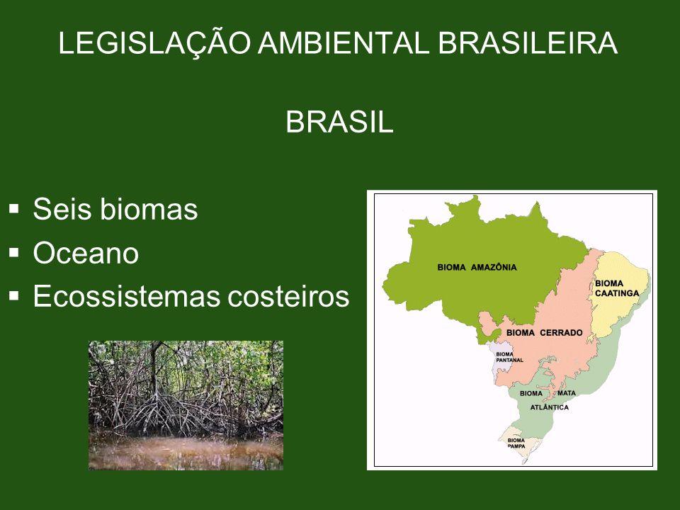 LEGISLAÇÃO AMBIENTAL BRASILEIRA BRASIL Seis biomas Oceano Ecossistemas costeiros