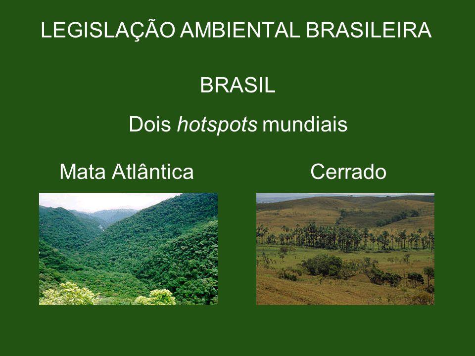 LEGISLAÇÃO AMBIENTAL BRASILEIRA BRASIL Dois hotspots mundiais Mata Atlântica Cerrado