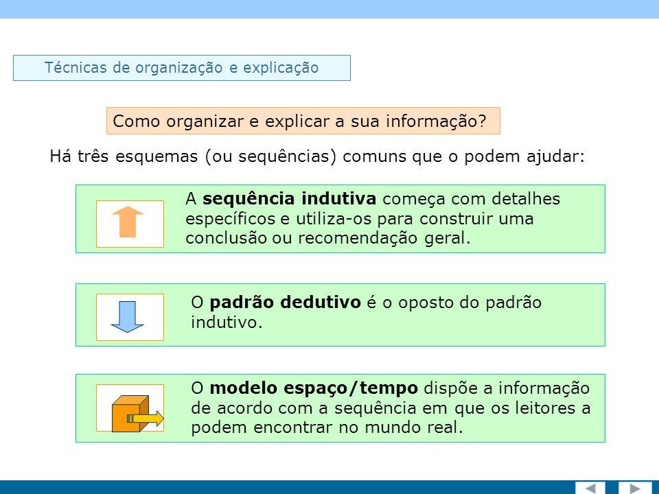 Screen 10 of 19 Técnicas de organização e explicação Há três esquemas (ou sequências) comuns que o podem ajudar: Como organizar e explicar a sua informação.