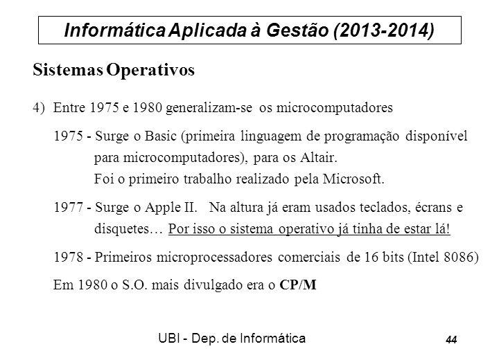 Informática Aplicada à Gestão (2013-2014) UBI - Dep. de Informática 44 Sistemas Operativos 4) Entre 1975 e 1980 generalizam-se os microcomputadores 19
