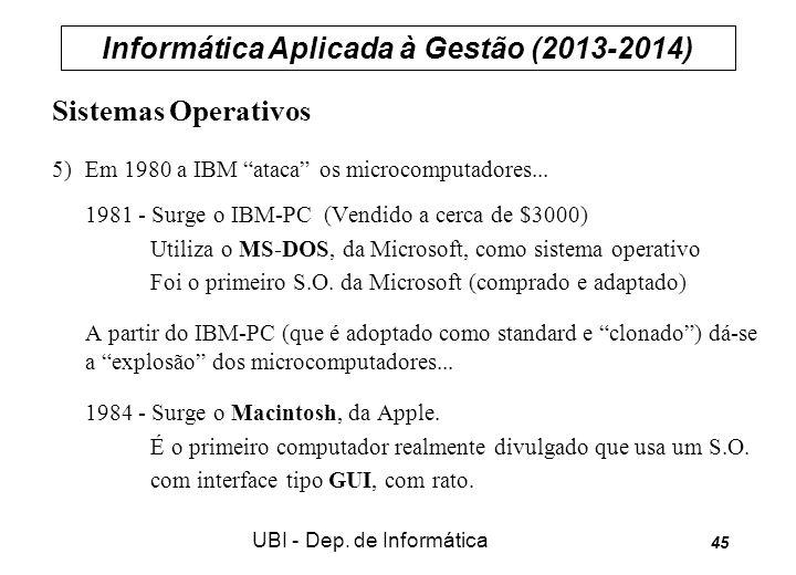 Informática Aplicada à Gestão (2013-2014) UBI - Dep. de Informática 45 Sistemas Operativos 5) Em 1980 a IBM ataca os microcomputadores... 1981 - Surge