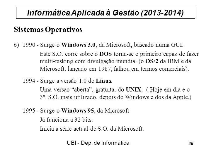 Informática Aplicada à Gestão (2013-2014) UBI - Dep. de Informática 46 Sistemas Operativos 6) 1990 - Surge o Windows 3.0, da Microsoft, baseado numa G