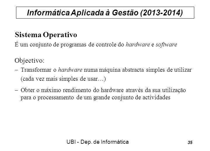 Informática Aplicada à Gestão (2013-2014) UBI - Dep. de Informática 35 Sistema Operativo É um conjunto de programas de controle do hardware e software